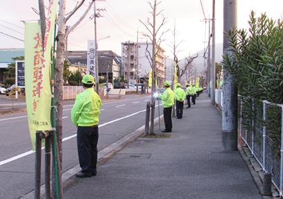 交通安全週間の立哨活動